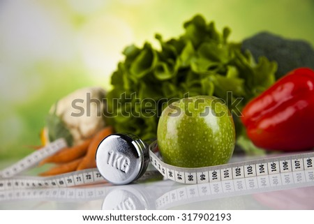 Vegetable, Fruits and fitness composition - stock photo