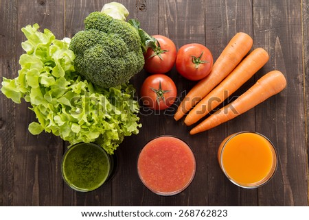 Vegetable juices&smoothie with fresh ingredie - stock photo