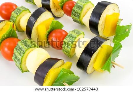 vegetable kebabs - stock photo