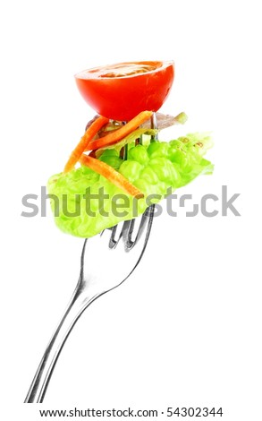 vegetable on fork isolated - stock photo
