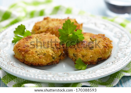 Vegetable pancakes with potato and brussel sprouts - stock photo