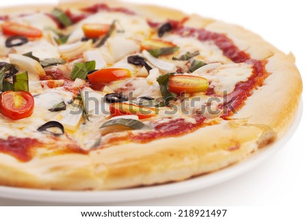 vegetable pizza on white plate. - stock photo