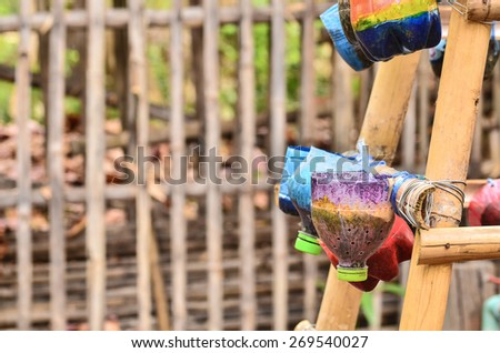 Vegetable planting pot made from the waste material - stock photo