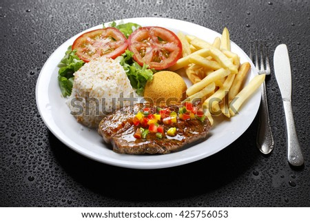 vegetable, roast beef and mashed potatoes - stock photo