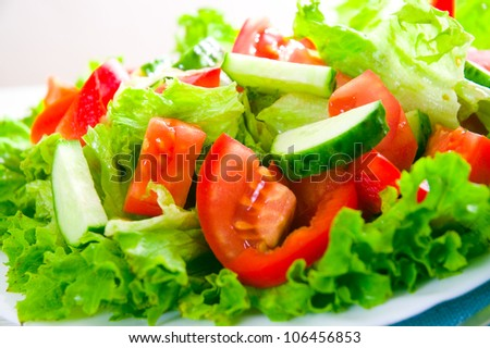 vegetable salad on plate - stock photo
