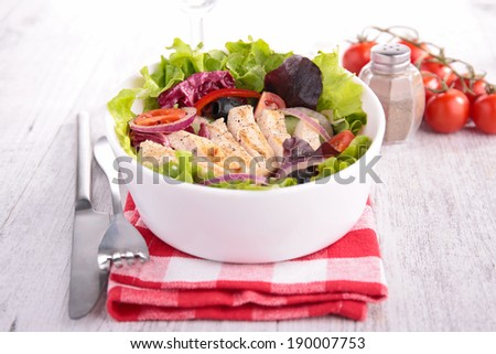 vegetable salad with chicken breast - stock photo
