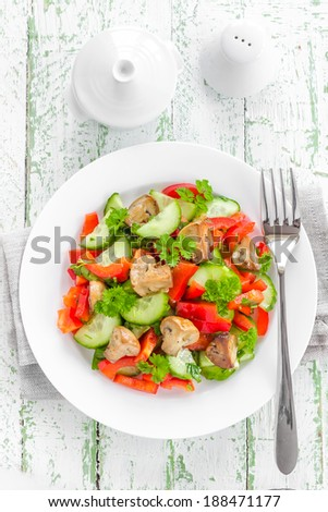 Vegetable salad with mushrooms - stock photo