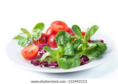 Vegetable salad with tomato and corn salad - stock photo