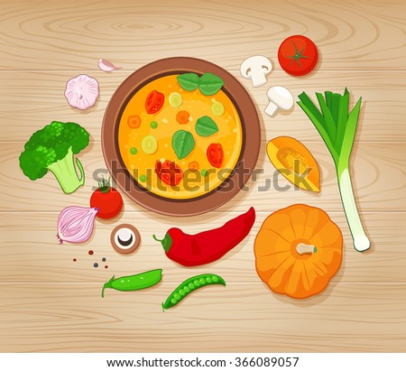 Vegetable Soup and Ingredients on Wooden Background. Top view. Raster JPG version  - stock photo