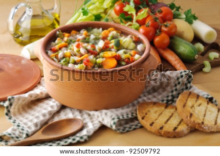 Vegetable soup and toast bread- setting - stock photo