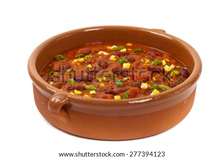 Vegetable Soup Chili isolated on white. Selective soft focus. - stock photo