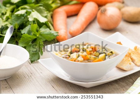 vegetable soup in a soup plate with vegetables on the background - stock photo