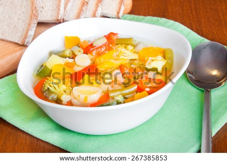Vegetable soup in a white bowl - stock photo
