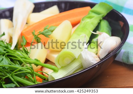 vegetable soup ingredients on table - stock photo