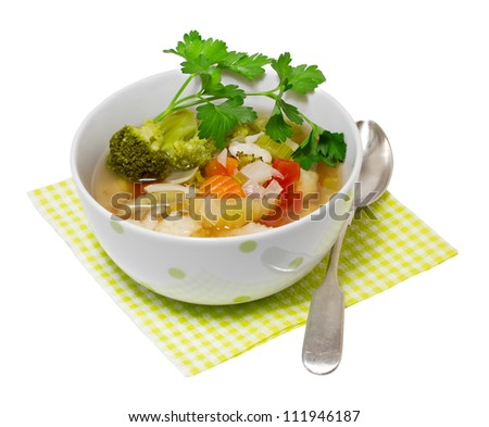 Vegetable soup isolated on a white background - stock photo