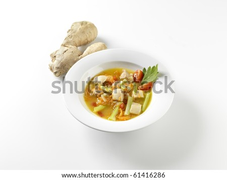 Vegetable soup with ginger. - stock photo