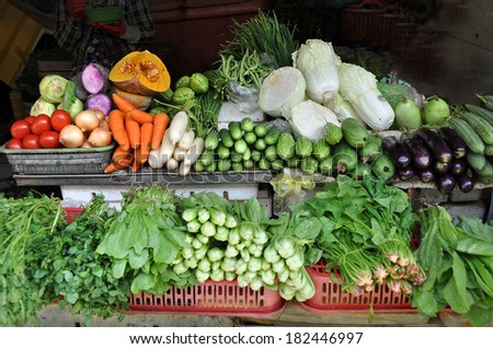 Vegetable Stall at Ben Tanh Market, Ho Chi Minh City, Vietnam. - stock photo