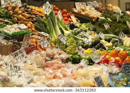 Vegetable stall from Pike Place Market, Seattle, Washington - stock photo