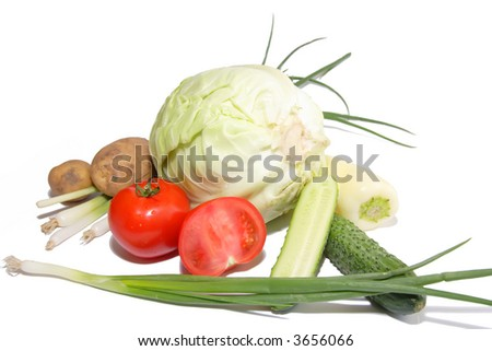 Vegetable still-life - isolated - stock photo
