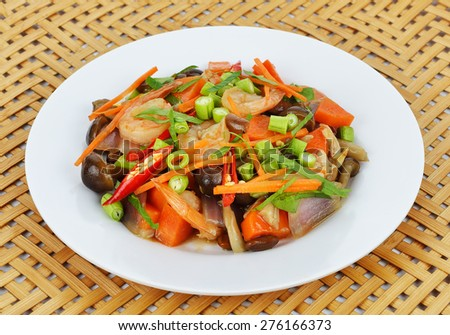 Vegetable stir-fry dishes. - stock photo