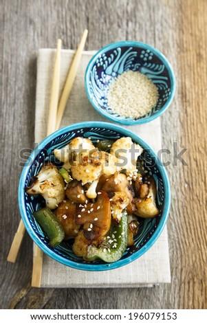 Vegetable stir fry with mushrooms - stock photo