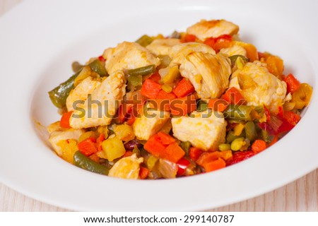 vegetables and chicken breast - stock photo