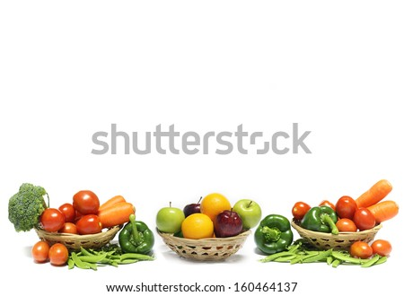 Vegetables and fruit for background - stock photo