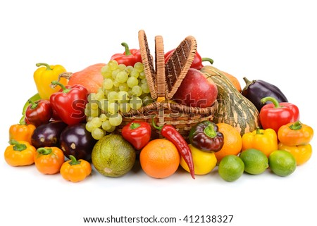 vegetables and fruits in a basket isolated on white background - stock photo