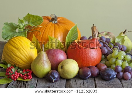 Vegetables and fruits in autumn season still life - stock photo