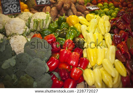Vegetables and fruits in raw at a farmers market  - stock photo