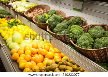 Vegetables and fruits in the supermarket.  - stock photo