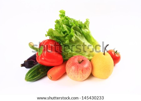 Vegetables and fruits isolated on a white background  - stock photo