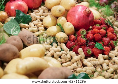 Vegetables and fruits on supermarket display - stock photo