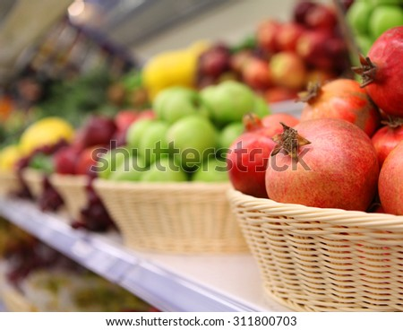 Vegetables and fruits on the shelf in supermarket - stock photo