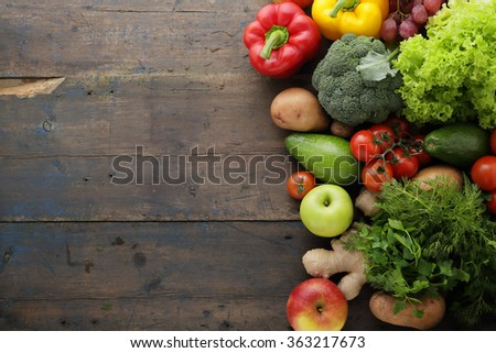 vegetables and fruits rustic background, healthy lifestyle concept - stock photo