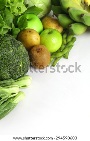 vegetables and fruits with space for text. - stock photo