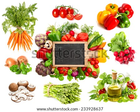 Vegetables and herbs isolated on white background. Blackboard for your text and food recipes. Healthy organic nutrition concept - stock photo