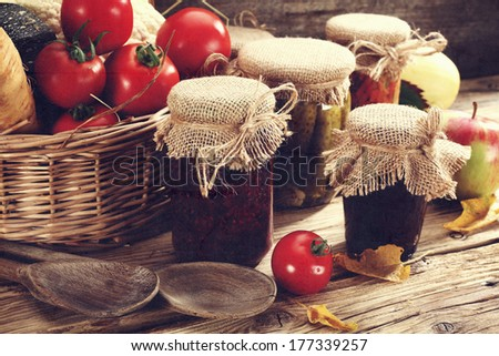vegetables and jars  - stock photo