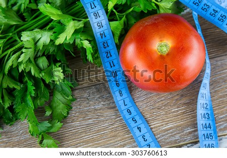 Vegetables and Measurements - stock photo