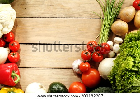vegetables and space for text  - stock photo