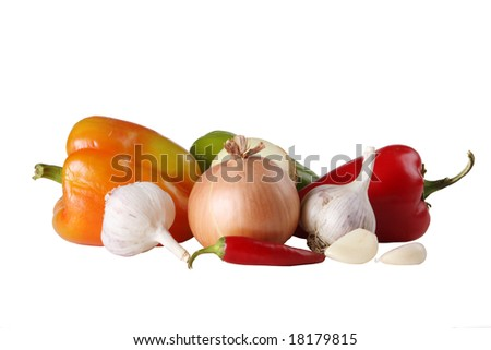 Vegetables are isolated on the white - stock photo