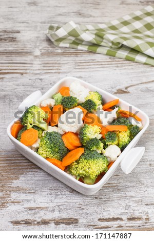 Vegetables. Broccoli, cauliflower and carrots. Raw food. diet.  Vegetarian. Macrobiotic.  Copy space composition - stock photo