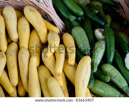 Vegetables displayed at a farmers market stall - stock photo