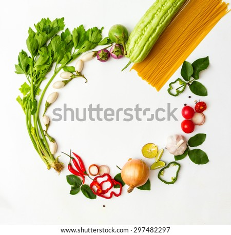Vegetables for cooking on white background. - stock photo