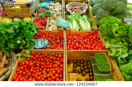 Vegetables for sale in a market in Amsterdam, Netherlands - stock photo
