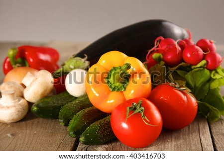Vegetables . Fresh Bio Vegetable in a Basket. Over Nature Background - stock photo
