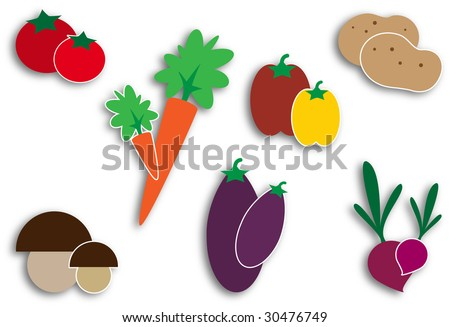Vegetables icons - stock photo