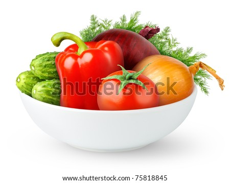Vegetables in a bowl isolated on white - stock photo