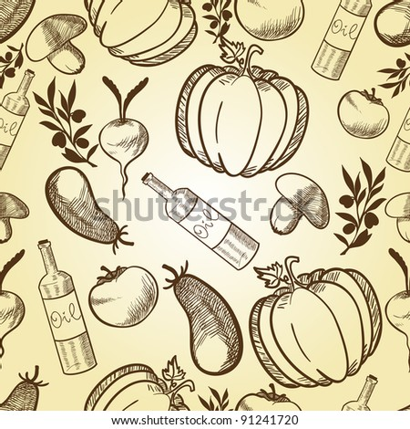 Vegetables in retro style seamless pattern - stock photo