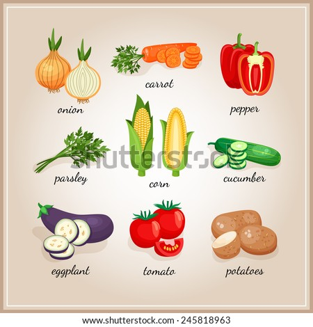 Vegetables ingredients. Collection of vegetables ingredients, each signed by the text - stock photo
